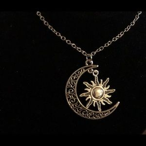 Moon And Sun Crescent Pendant-20 inches